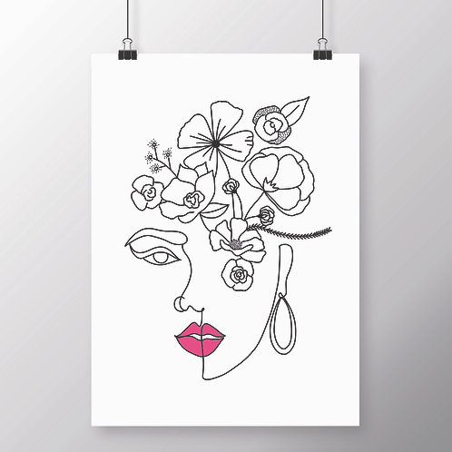 LINE DRAWN FLORAL ABSTRACT FACE