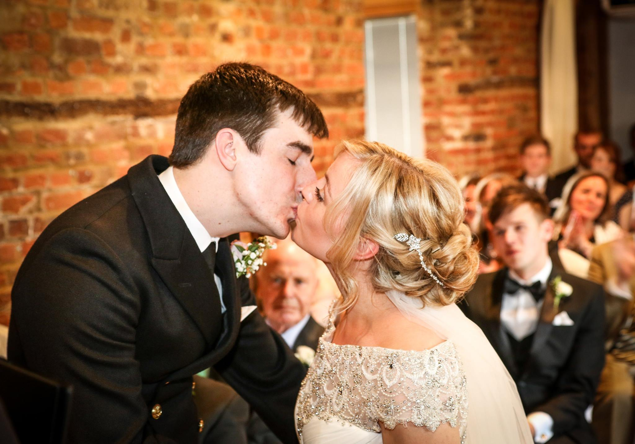 Tewin Bury Farm Wedding Kiss