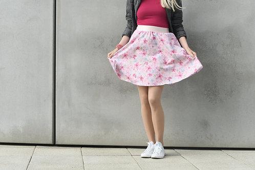Růžová květinová sukně půlkolová