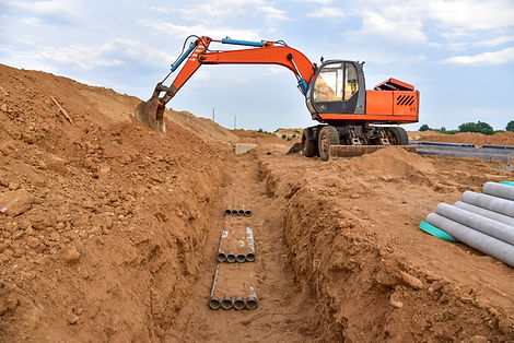 Excavator dig the trenches at a construc