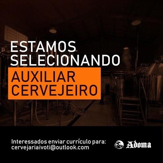 Vaga de Auxiliar Cervejeiro na Adoma (Imagem: Divulgação)