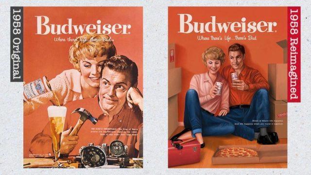 Anúncio dos anos 1950 da Budweiser e recriação de 2019 (Budweiser/Divulgação)