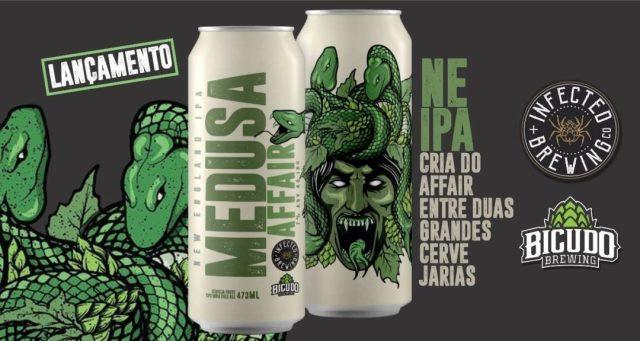 Medusa Affair é uma NEIPA criação colaborativa entre as cervejarias Bicudo Brewing e Infected Brewing – ambas de Santos (SP) (Imagem Divulgação)