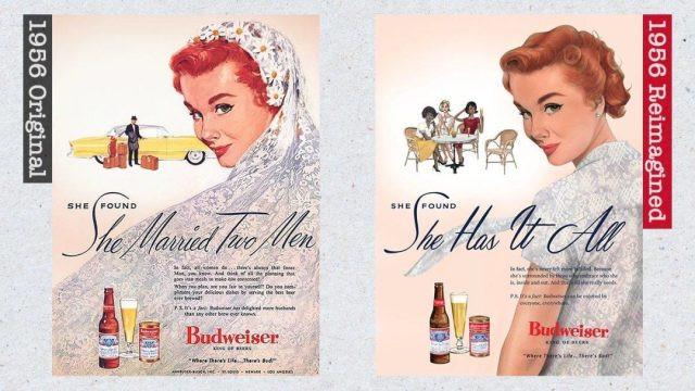 Cartaz dos anos 1950 da Budweiser e recriação de 2019 (Budweiser/Divulgação)