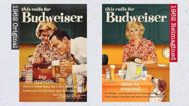 Anúncio da Budweiser dos anos 1960 e recriação de 2019 (Budweiser/Divulgação)