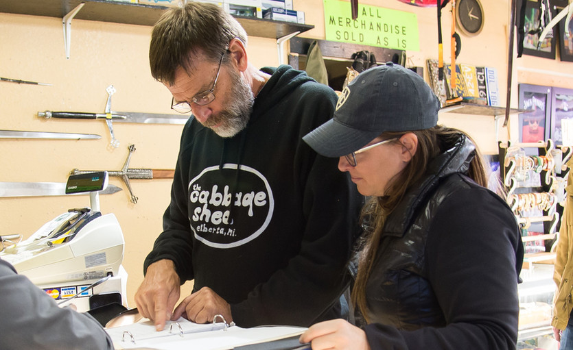Rich - Director/Writer/Producer and Amber, the DP, reviewing the script