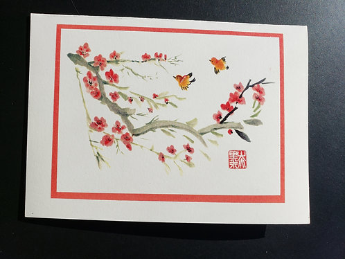 Cherry Blossoms with Swallows- Package of 10