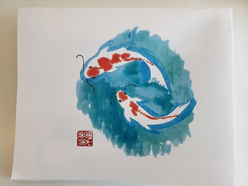 Chinese Brush Painting of Koi Fish- 1 Card