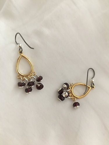 Chandelier Earring Pair with  Dark Purple Amethyst