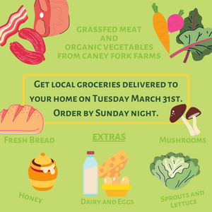 Caney Fork Farms offers home delivery for grassfed meat, organic vegetables, and other local products.