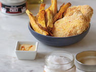 Baked Fish & Chips with Sweet Sriracha Mayo