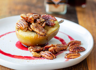 Maple Pecan Poached Pears