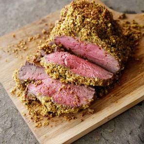 Pistachio & Parmesan Herb Crusted Beef Tenderloin