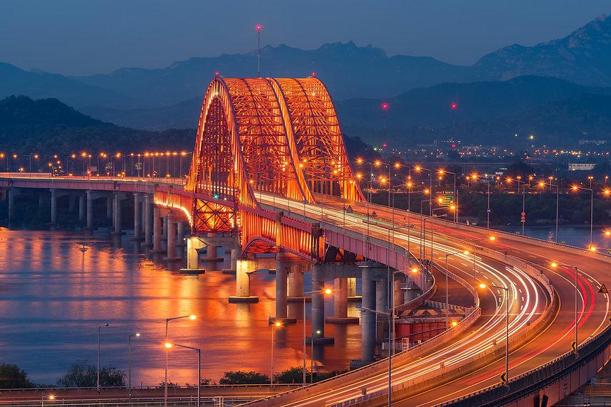 The Banghwa Bridge crosses the Han River in South Korea