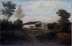 Huile sur toile, paysage sig. Moreau