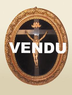 Crucifix en ivoire cadre ovale