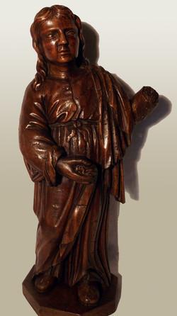 Statue en bois : personnage saint