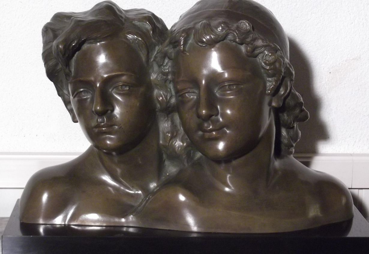 Double portrait en bronze A. GORI