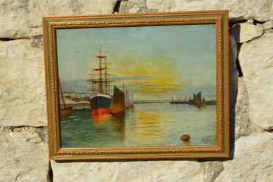 Marine vue d'un port signée H. Lépée