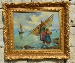 """Huile Sur Toile (marine ) Signée Ch. FROLICH"""