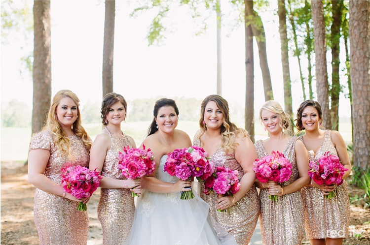 Vibrant Fuchsia + Gold Bridal Party