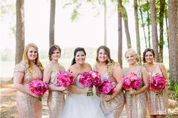 Vibrant Fuchsia + Gold Bridal Party