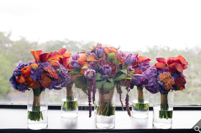 Unique Orange + Purple Bouquet