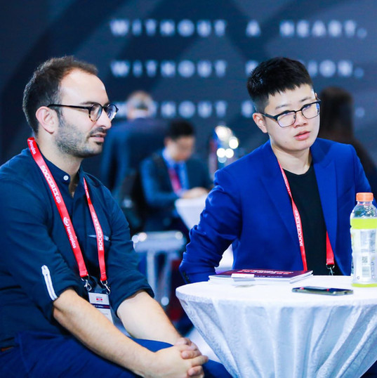 Mailman's Yujun and Seven League's Francois discuss business at Soccerex 2019