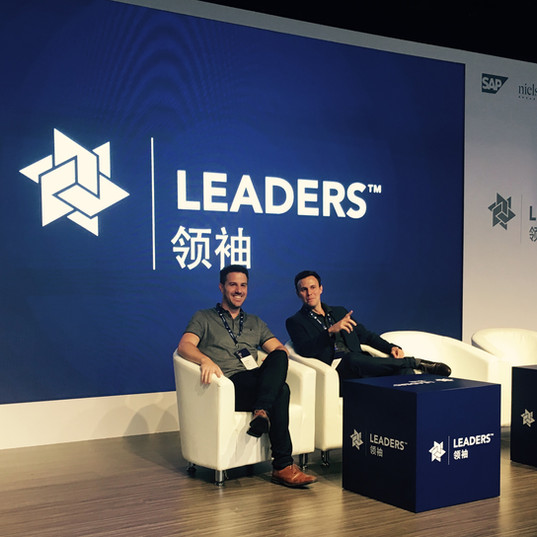 Andrew Collins and David Hornby take to the stage at Leaders conference in Shanghai