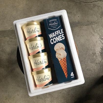 ICE CREAM & Waffle CONE SET OF 4 flavors  選べる4フレーバー&ワッフルコーンセット