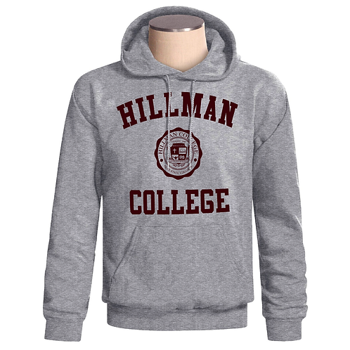 Heather Gray + Maroon Hoodie - LARGE