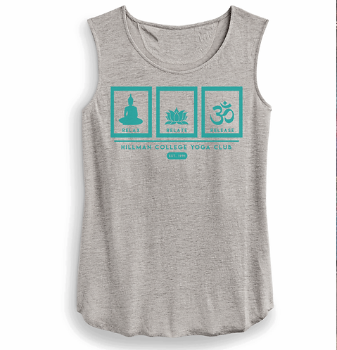 RELAX RELATE RELEASE Ladies Linen Tank - GRAY & TEAL - SMALL