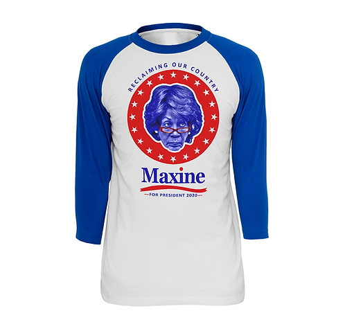 MAXINE WATERS 2020 - BLUE + WHITE RAGLAN - SMALL