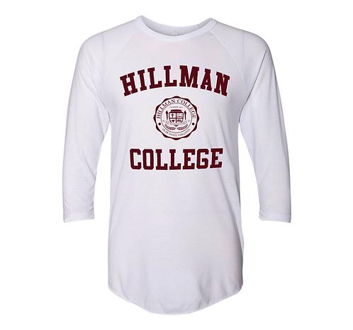 White + White + Maroon Hillman Raglan - LARGE