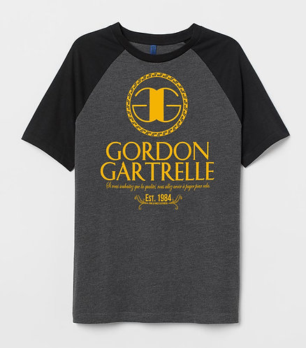 Gordon Black + Smoke + Gold Raglan T-Shirt: LARGE