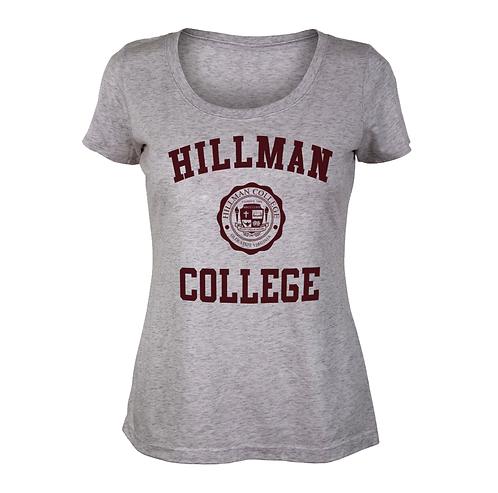 Gray Scoop Neck Hillman Ladies Tee: SMALL