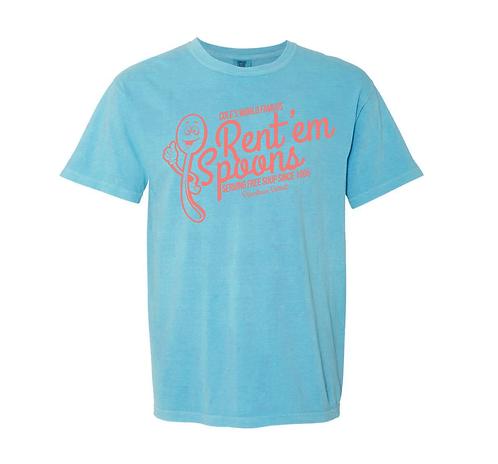 *Retro Rustic* AQUA - RENT'EM SPOONS T-SHIRT - SMALL(this shirt fits larger)