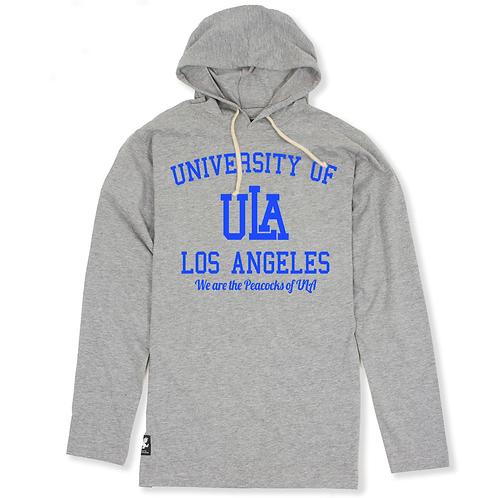 Gray ULA L/S T-Shirt Slimfit Hoodie - 2XL