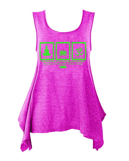 RELAX RELATE RELEASE Ladies Flowy Yogo Tank | Hot Pink & Green: SMALL