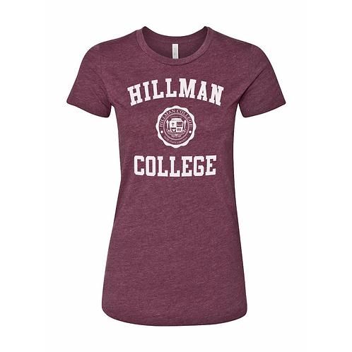HEATHER MAROON Hillman Ladies (junior's fit) T-Shirt: LARGE