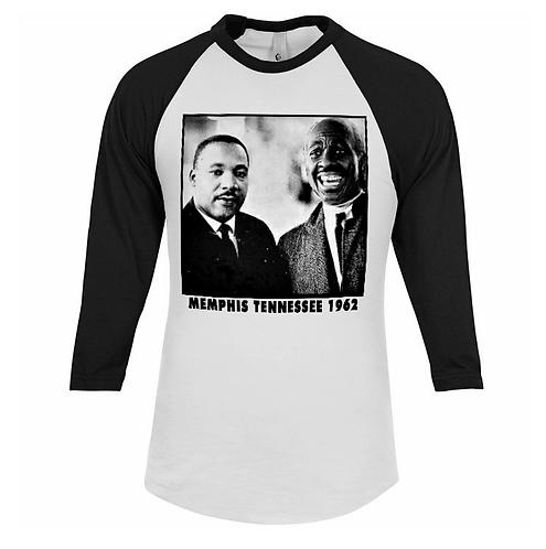 M.L.K. & CLARENCE - BLACK & WHITE RAGLAN - LARGE