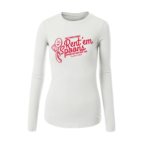 LADIES WHITE L/S - RENT'EM SPOONS T-SHIRT - SMALL
