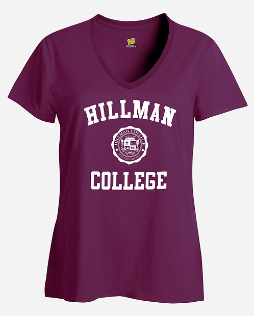 Maroon Hillman Ladies V-Neck T-Shirt - LARGE