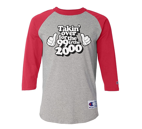 FOR THE '99 & THE 2000 RAGLAN - RED & HEATHER GRAY: LARGE