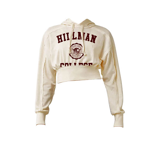 Ladies Natural French Terry Crop Hillman Hoodie - LARGE