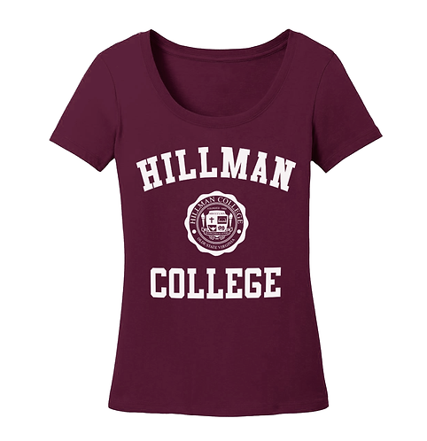 Maroon Scoop Neck Hillman Ladies Tee: SMALL