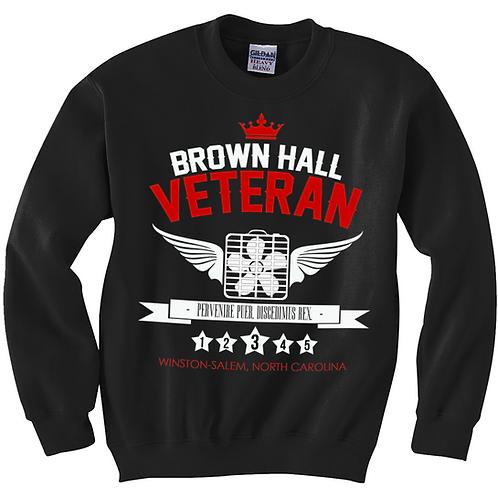 BLACK - BROWN HALL VETERAN - CREWNECK - XL