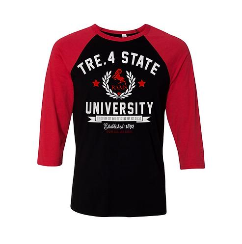 BLACK + RED - TRE.4 STATE - RAGLAN - EXTRA LARGE