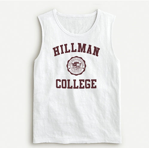 Hillman Ladies White Linen Loose Fitting Name Brand Tank Top - SMALL