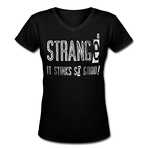 STRANGE - BLACK LADIES S/S V-NECK T-SHIRT - SMALL